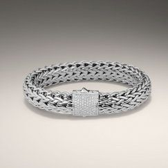 CLASSIC CHAIN COLLECTION Extra-Large Bracelet with Diamond Pave (0.77ct). All in Sterling Silver.