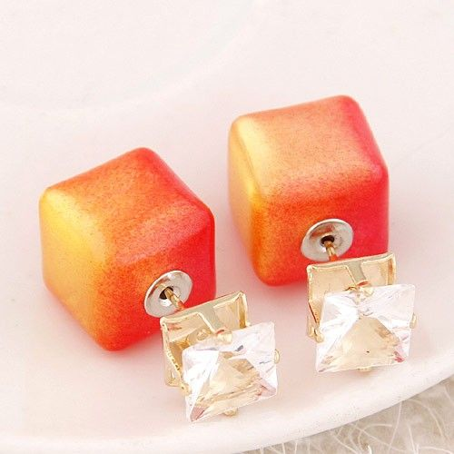 Metal flash diamond candy color simple square charming stud earrings