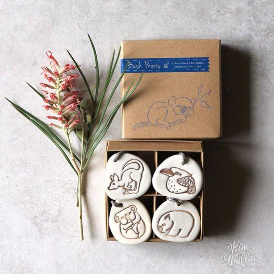 Bush Prints ~ Gift set of 4 ceramic tags    A collaboration between artist Renée Treml and Kim Wallace Ceramics ~ Handmade Australian Ceramics