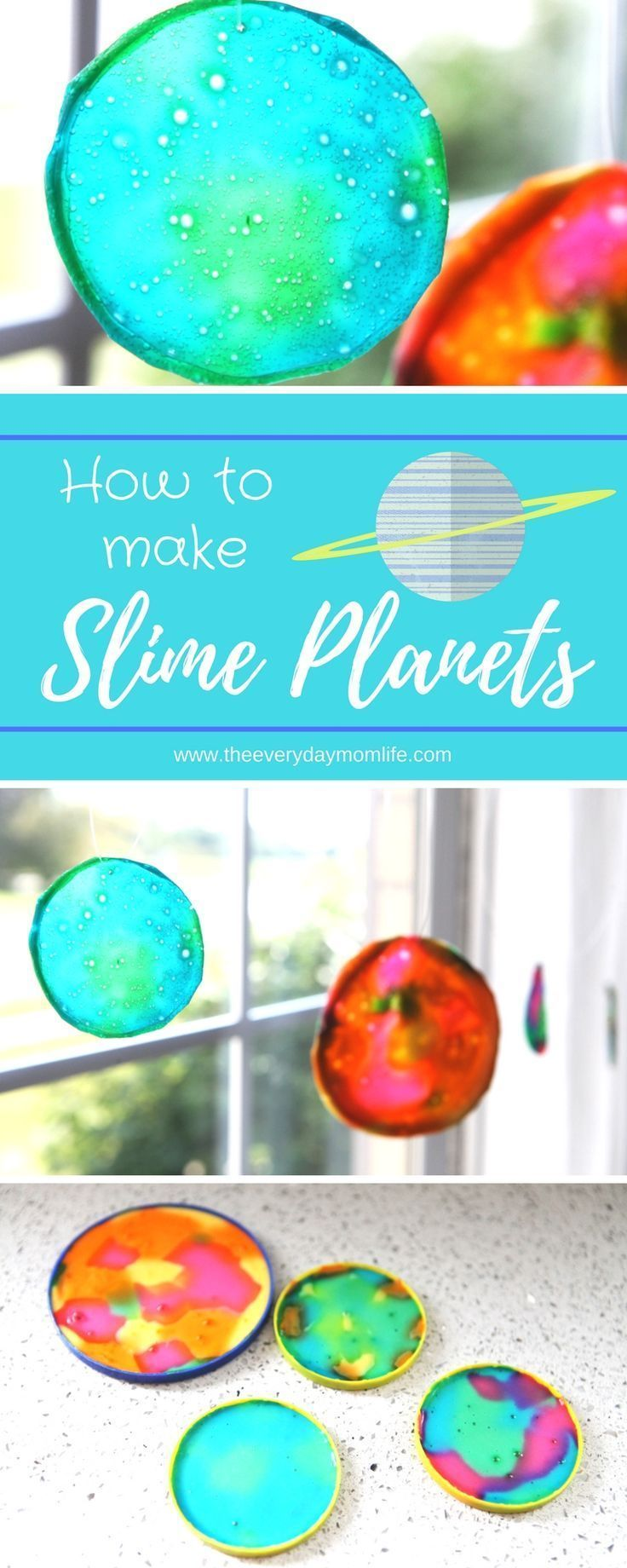 These slime planet sun catchers are the perfect way to teach kids about the solar system and create a fun art project together! // Article by The Everyday Mom Life