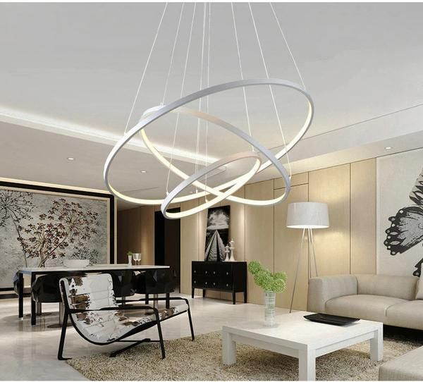Modern Pendant Lights 4 3 2 1 Circle Rings Acrylic Aluminum Led Pendant Lamp For Living Room Dining Room Lamps Living Room White Modern Pendant Light Living Room Lighting