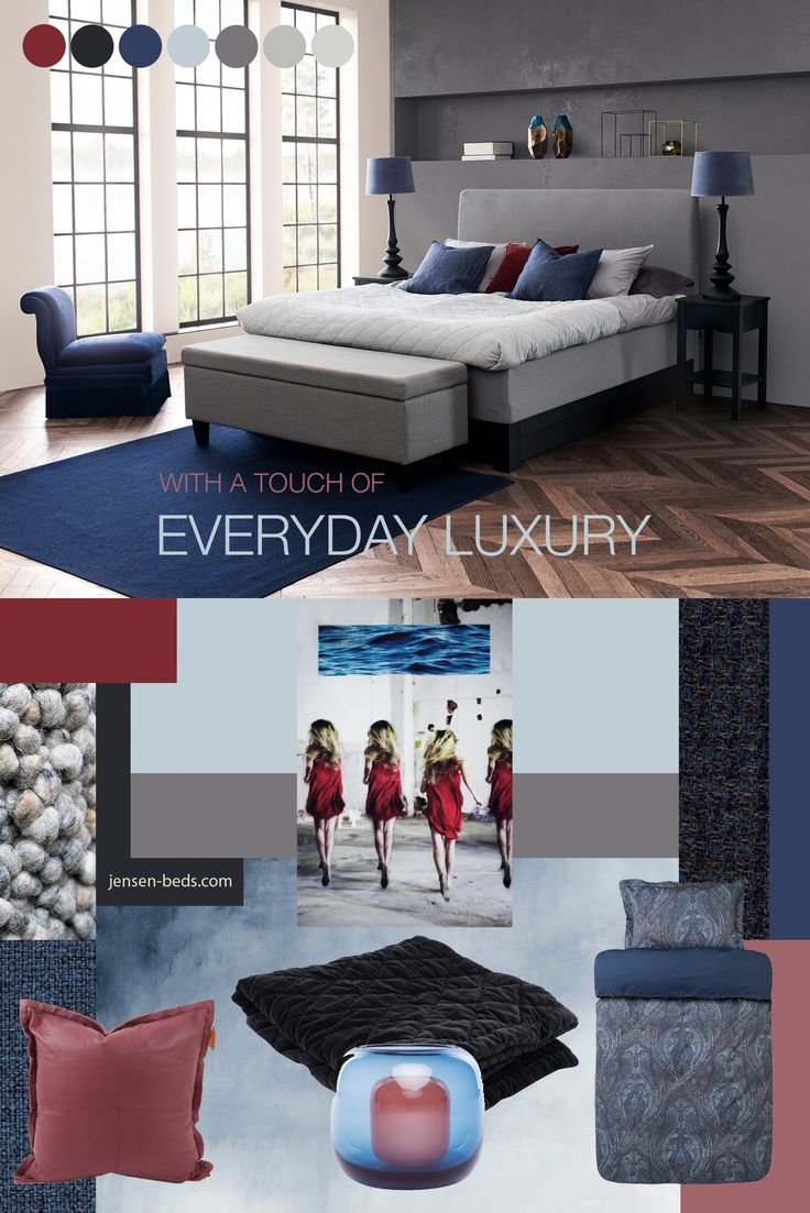 Design your bedroom with a touch of everyday luxury. Start with a Jensen Bed. Here you have a moodboard with a color palette and design items that brings the right kind of feeling. Photo credit: http://jensen-beds.com/ https://hoie.no/ http://www.lama.com/ https://galleritove.no/ http://www.magnor.no/no/ http://www.tisca.at/en/ http://www.photowall.no/