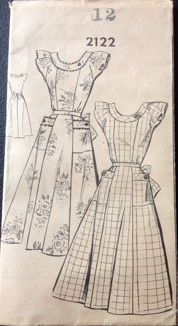 1950s Mail Order 2122 Misses Dress Pattern Scoop Neck Day Dress womens vintage sewing pattern  by mbchills
