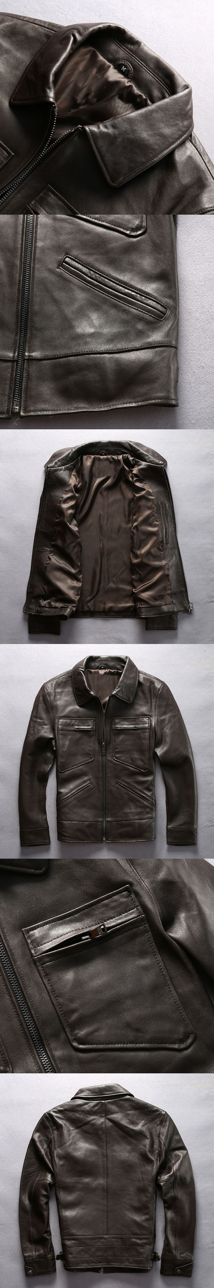 NEW ! Business style slim fit real leather jacket men brown sheepskin casual leather coat for men four pockets smooth leather ja
