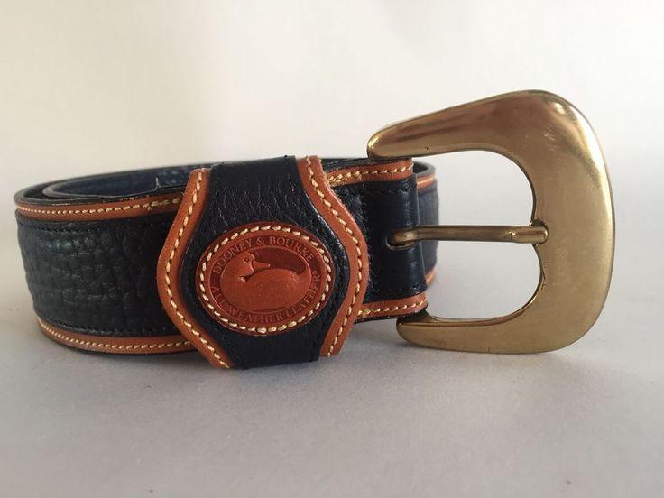 Dooney & Bourke All Weather Leather Belt Black Brown Brass Buckle Sz Medium Med #DooneyBourke #WaistBelt
