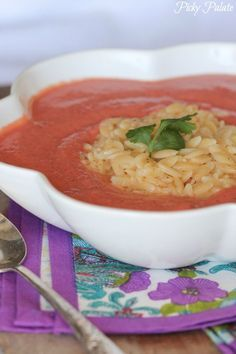Skinny Tomato Soup with Cheesy Orzo