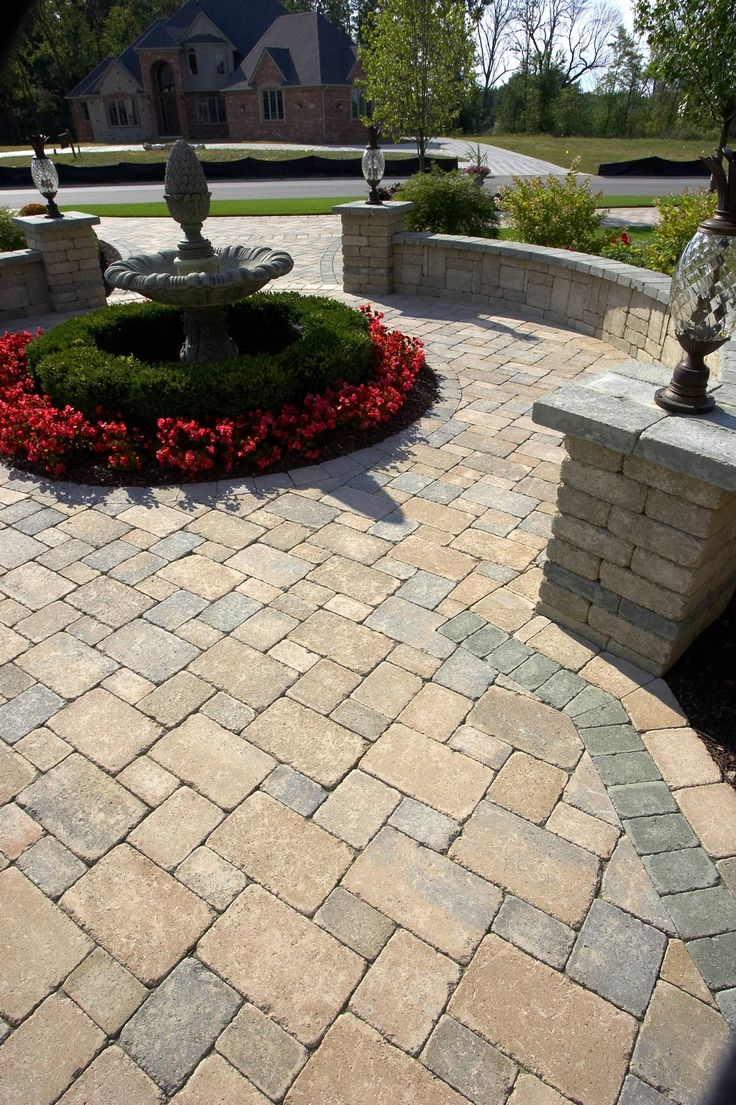 Unilock paver patio patio ideas landscaping ideas yard for Paver patio ideas pictures