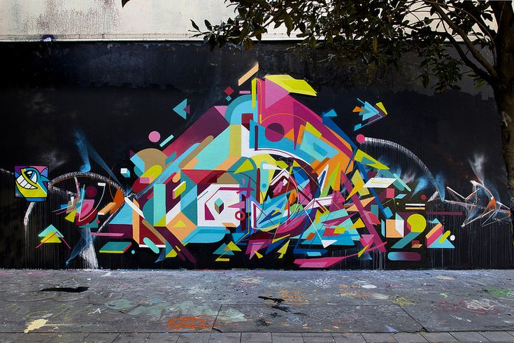Bobby Solomon, writing for The Fox is Black:      One of my favorites was Nelio, a French graffiti artist who's work uses     tons of bright colors all laid out in the most interesting, geometric     ways.  Some good choices in the post and the Flickr link is worth your time as  well.