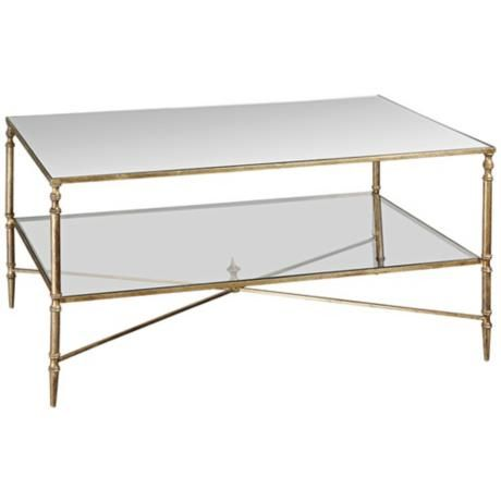 Uttermost Henzler Glass And Gold Leaf Coffee Table