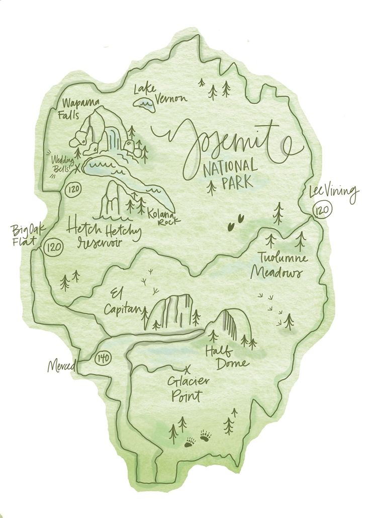 Coyote Atelier illustration inspiration: Yosemite National Park Map illustration by Lisa Siemonsma                                                                                                                                                                                 More