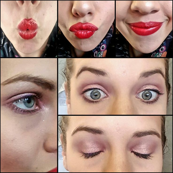 A red lip paired with pink eye shadow! HUIDRIE MARAIS