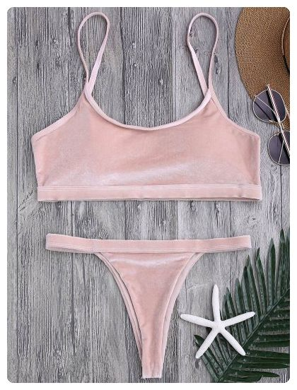 65bff55efd2 Velvet V String Bralette Bikini Set (Pink)