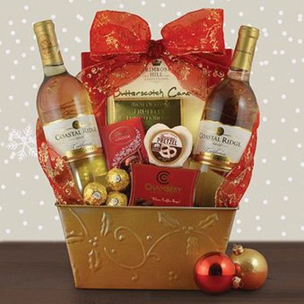 White Christmas Wine Duo Gift Basket With Large Hamper Chocolate