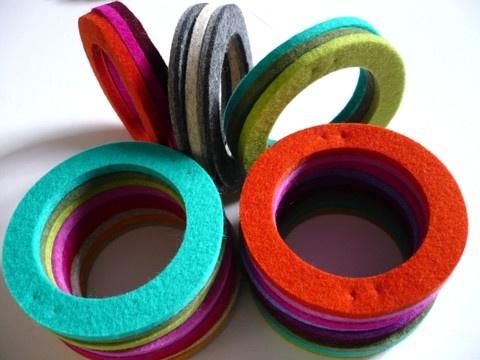 love these wool felt bangles by Lynsey Walters #felt #jewelry #bracelets