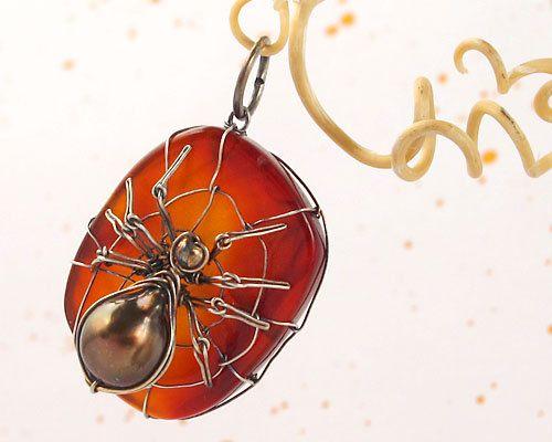 Sterling Silver Carnelian Pearl Black Widow Spider by VargoJewelry, $47.00