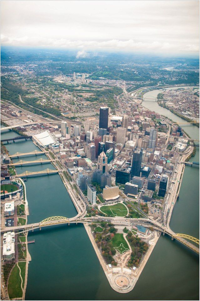 Downtown Pittsburgh from the air
