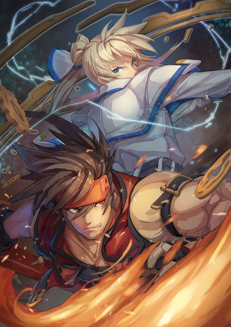 Ky Kiske and Sol Badguy, Guilty Gear Xrd artwork by Mkd78236.