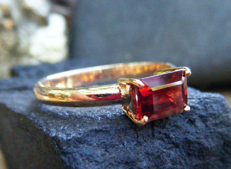 GARNET engagement ring, emerald cut red garnet, alternative engagement ring, garnet ring gold, bridal ring, promise ring, gold garnet ring by ExquisiteGem on Etsy https://www.etsy.com/listing/177968675/garnet-engagement-ring-emerald-cut-red