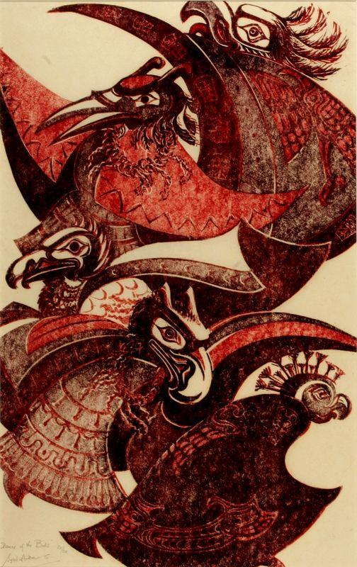 "Dance of the Birds, 1975, by Sybil Andrews (Canadian, 1898–1992). Linocut, 14 x 9""   Salt Spring Art Galleries"