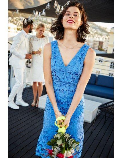 Kanten jurk met V-hals Blauw