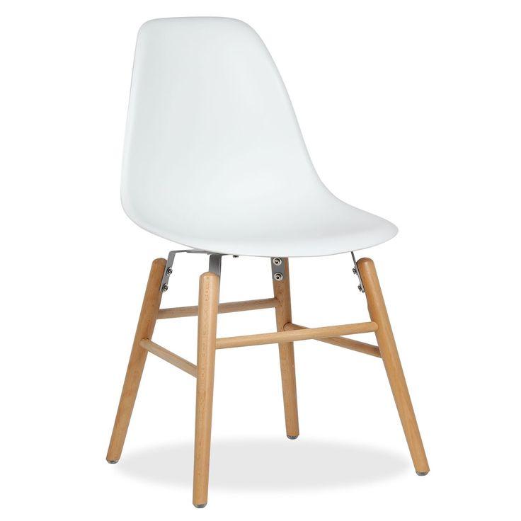 Gambe in legno di faggio.           Sedile molto comodo.     Disponibile di colore bianco.     Design originale e attraente.  La sedia WOODEN -Wood Leg- ha il sedile e schienale  in   policarbonato,un materiale plastico molto resistente.  Gambe in legno di faggio naturale. Una sedia dal design speciale per saloni e sale da pranzo.
