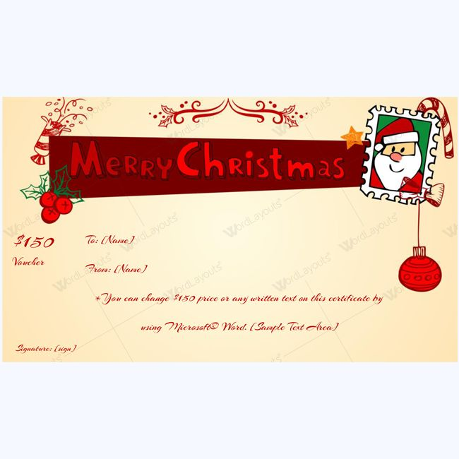 Merry Christmas Gift Certificate Template #merrychristmas - Christmas Certificates Templates For Word