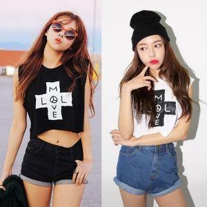 Summer Women Casual O-Neck Sleeveless Print Short Tank Vest Beach Wear Crop Tops