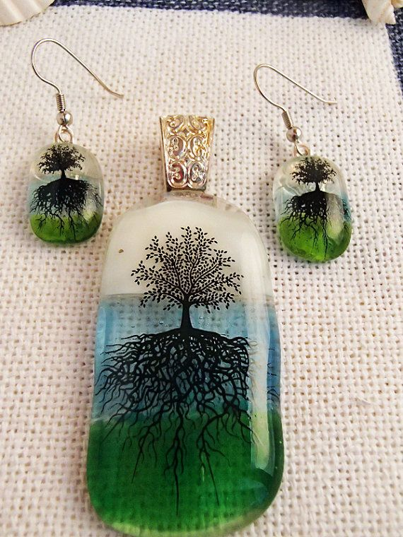 Glass fusion TREE OF LIFE pendant and earrings by LikeYourJunk