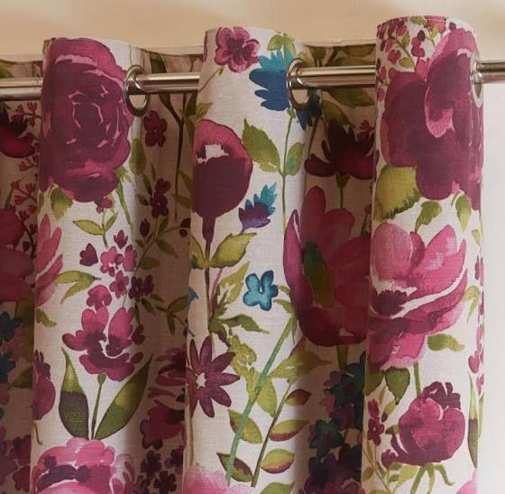 multicoloured flower curtains