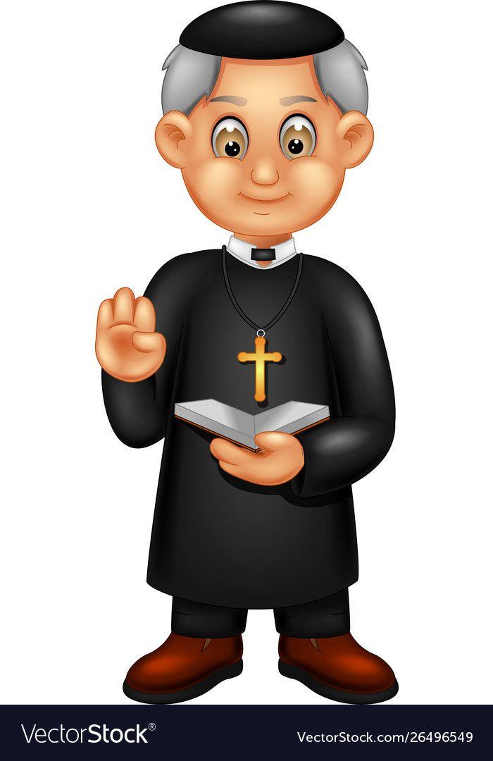 Funny Priest In Black Uniform Cartoon Royalty Free Vector Cartoon Cartoons Vector Priest