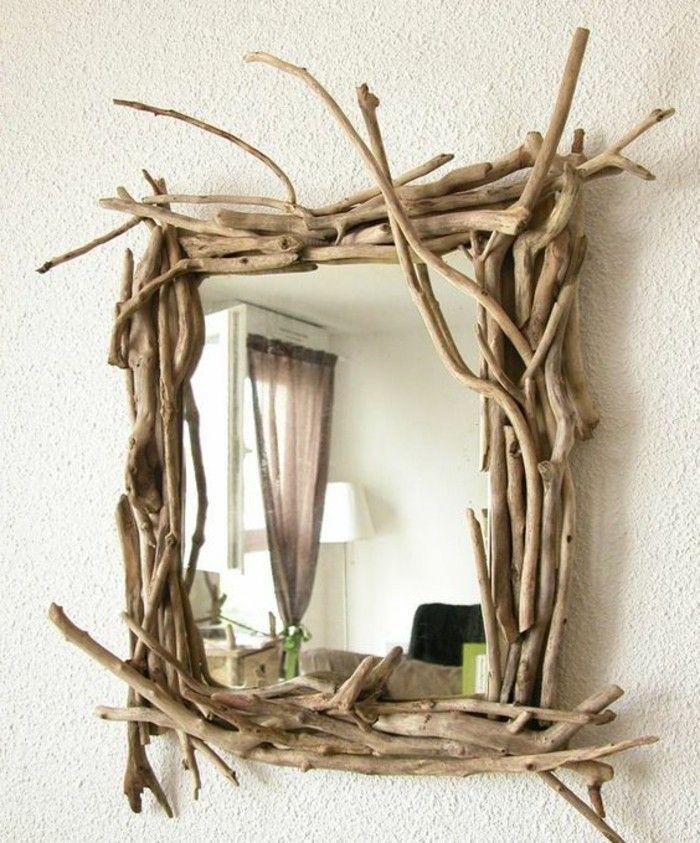 treibholz wanddeko eckiger spiegel mit rahmen aus holz wand diy