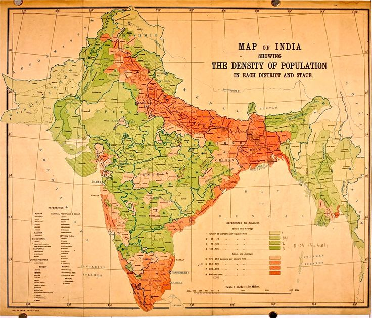 Population density map of British India according to 1911 Census