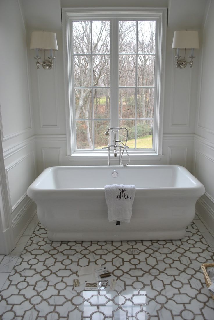Fair 80 master bathroom freestanding tub inspiration of for Master bathroom white
