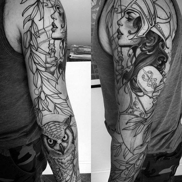 60 Athena Tattoo Designs For Men Ancient Greek Goddess