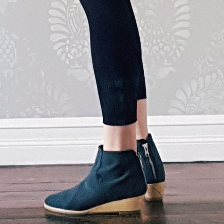 Coco wedges in charcoal....beautiful back zip-up and wood wedge heel. Soft vegan recycled microsuede