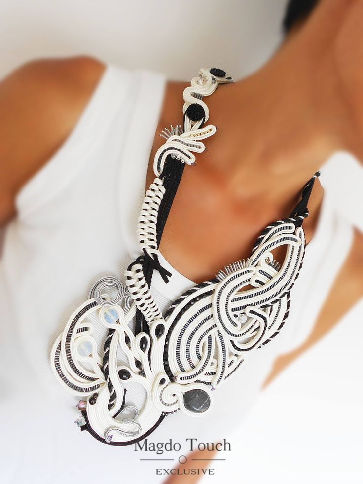 Soutache statement necklace asymetric necklace wearable art jewelry black and white necklace big necklace contemporary embroided jewelry by MagdoTouch on Etsy