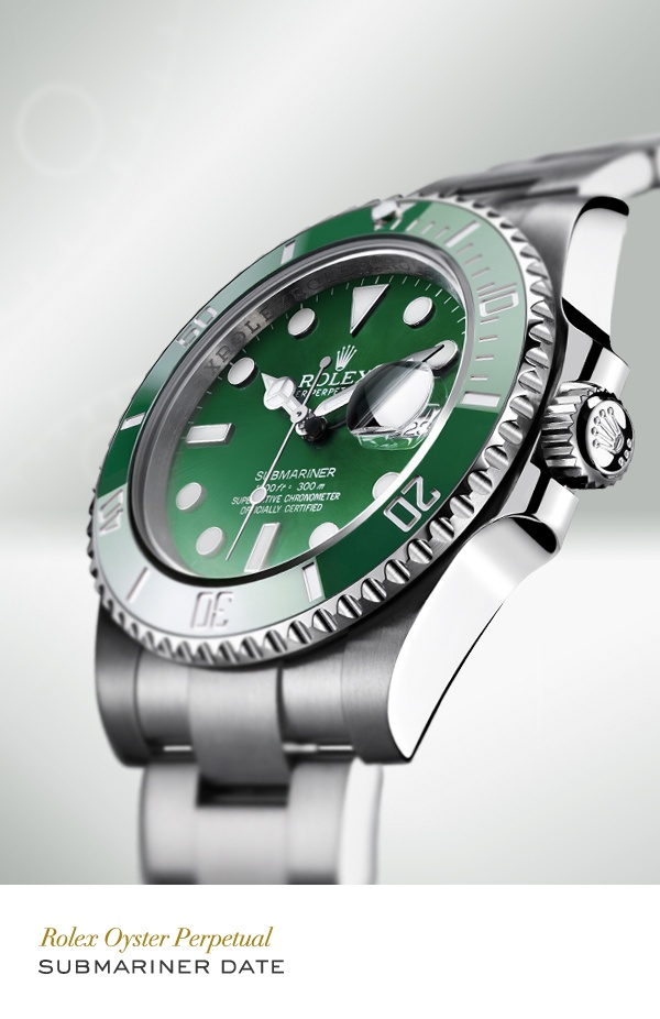 Rolex Submariner Date 40 mm in 904L steel with a rotatable graduated green ceramic bezel, green dial and Oyster bracelet. #RolexOfficial