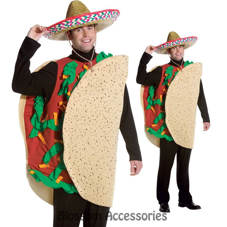C240 Mens Mexican TACO Funny Food Deluxe Halloween Fancy Dress Adult Costume