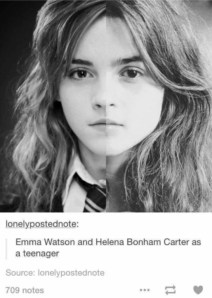 the heck when I firsts looked I thought the right one (HBC) was Hermione in the first movies