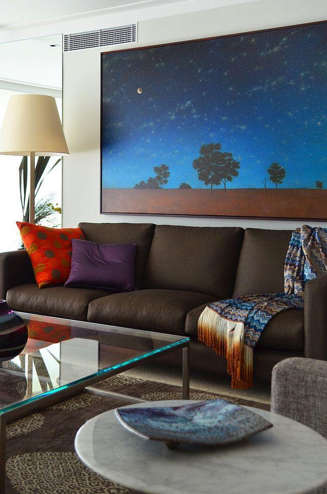 Circular Quay Harbour Apartment - Swan Studio Interior Design | apartment living room brown sofa missoni throw artimede floor lamp