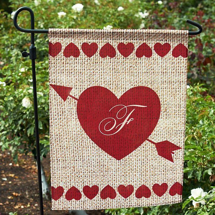 Burlap Heart Initial Garden Flag