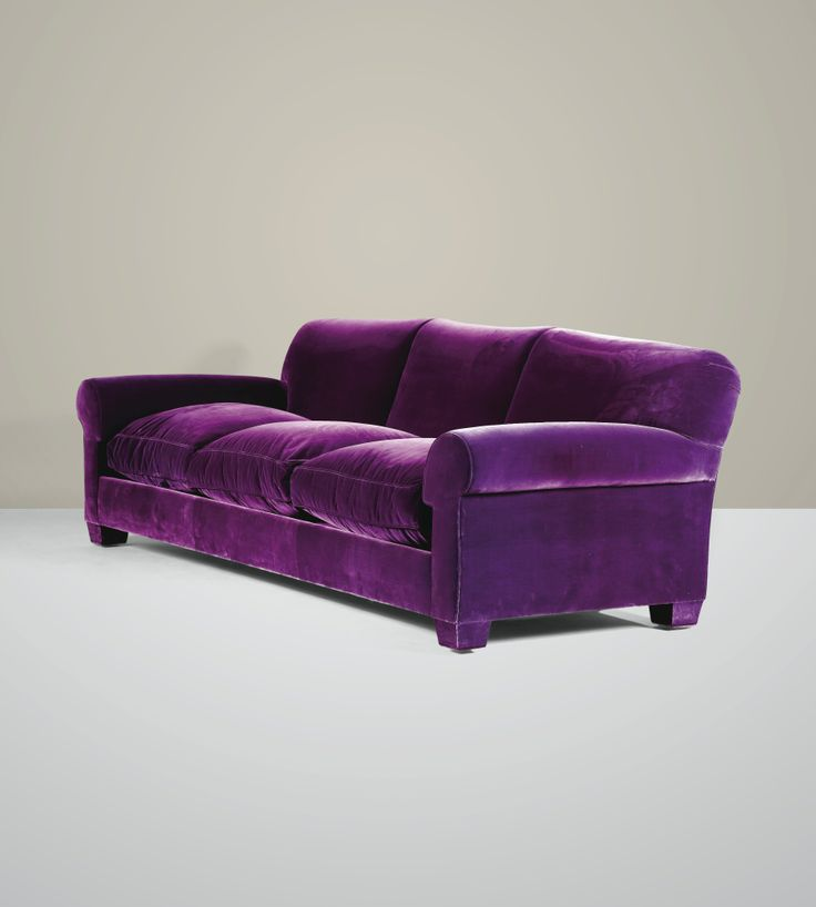 A VIOLET SILK VELVET THREE SEAT SOFA AND A PAIR OF ARMCHAIRS BY JACQUES GRANGE, CIRCA 1994-1996
