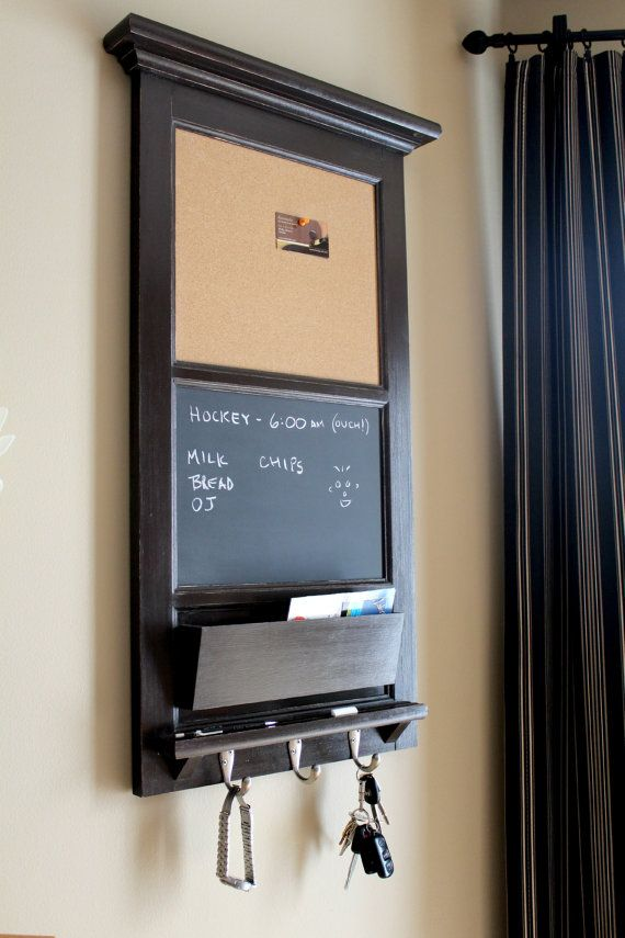 Vertical Wall Tall Chalkboard Cork Bulletin Board with Mail Organizer and Storage, Family Organizer Family Planner Key hooks, and shelf