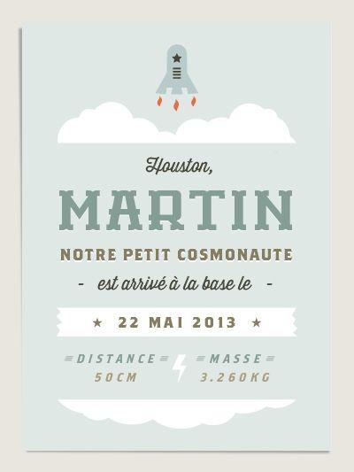 Faire part de naissance original Babynaute (www.dioton.fr). Birth announcement for baby space conquerors.