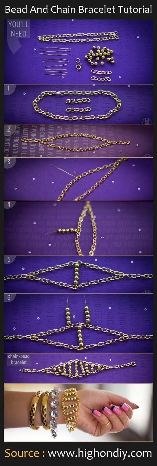 Bead And Chain Bracelet DIY