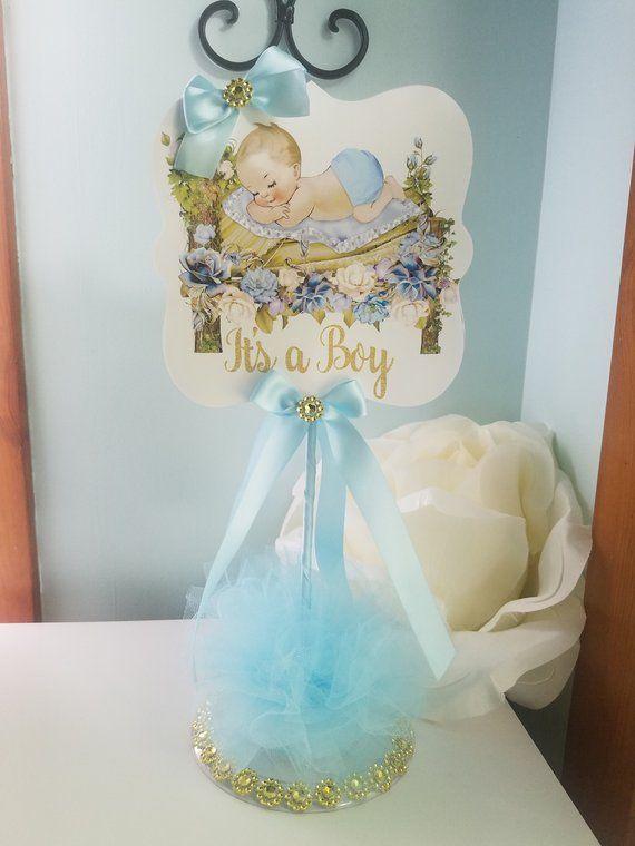 Boy Baby Shower CenterpieceGold and Baby Blue Baby Shower CenterpieceSilver and Blue Baby Shower CenterpieceBoy Baby Shower Centerpiece