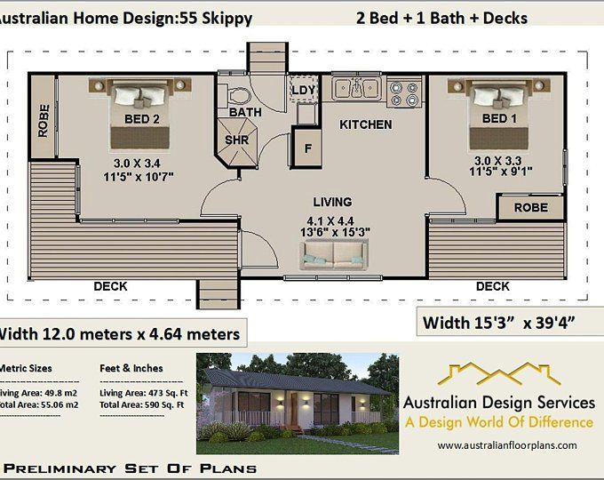 Small House Plan Australia 2 Bedroom Small Home Design Etsy Small House Design House Plans Australia Free House Plans