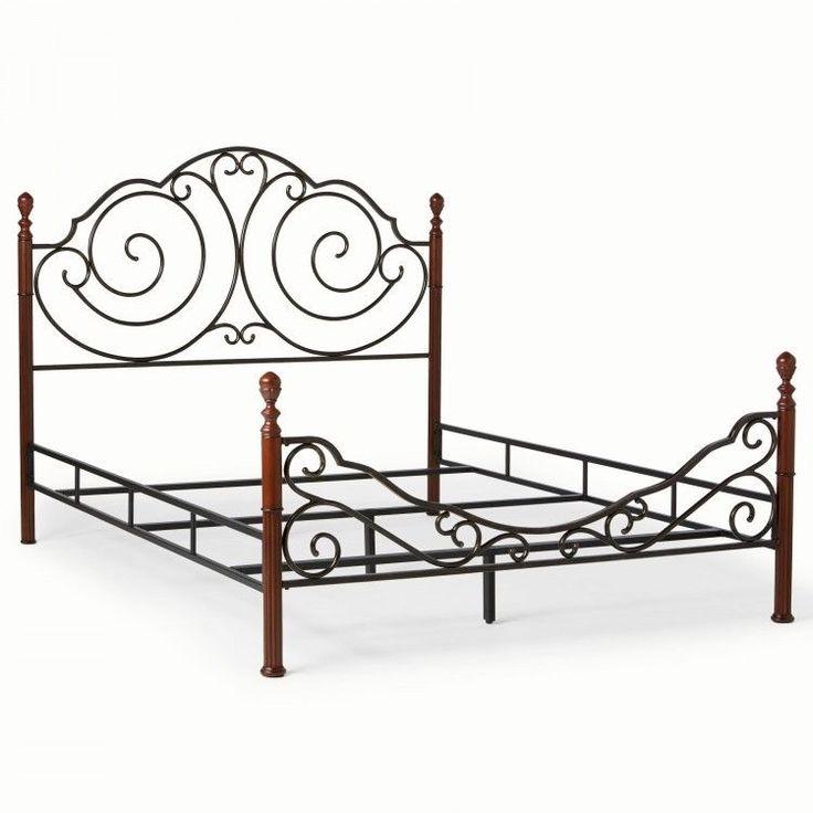 twin size metal bed frame scroll design bronze finish headfoot board rails new