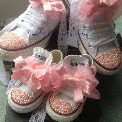 """Mommy and Me """"Bling""""  high/low top converse in your choice of color, stone & ribbon shoelace to match. on Etsy, $145.00"""