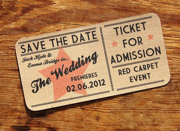 A Bird & A Bee's 'Red Carpet' Save the Date. Styled as a vintage cinema ticket, send your guests a ticket to the red carpet premiere! http://www.abirdandabee.co.uk/#/red-carpet/4558110129